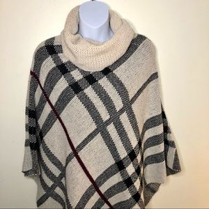 Papillon plaid knit cowl neck poncho cape sweater one size fits all